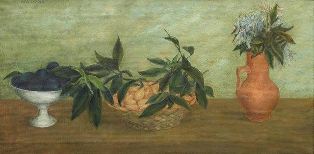 An image of Still life with almonds and plums