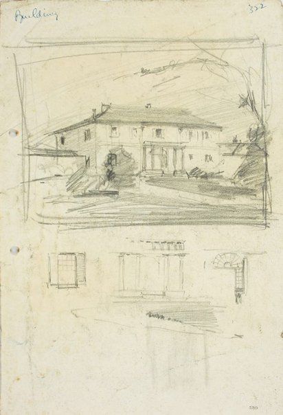 An image of recto: Old Government House, Parramatta and architectural details verso: Three studies for Old Government House, Parramatta by Lloyd Rees