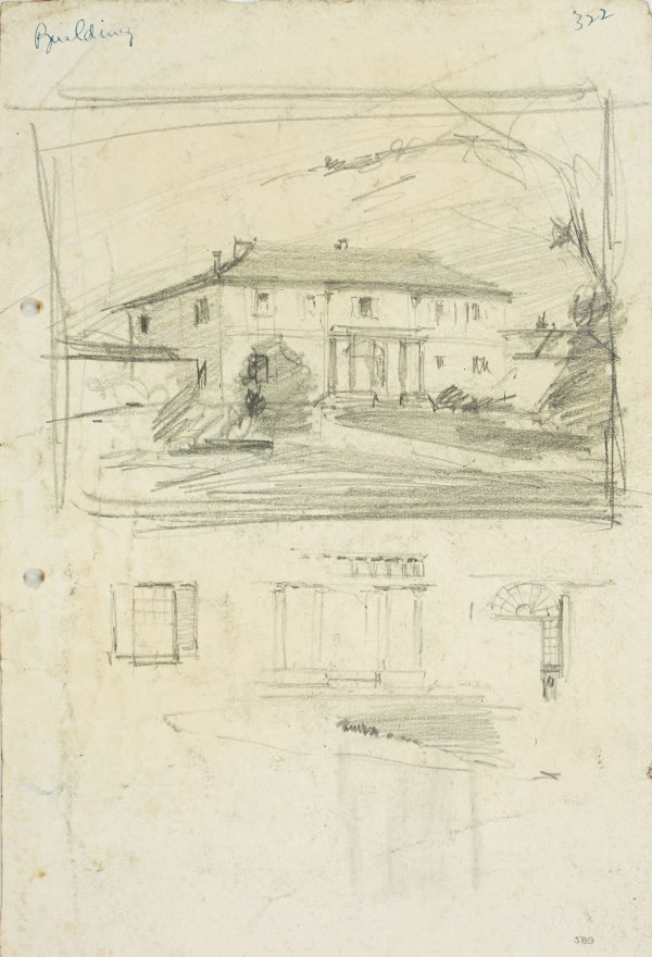An image of recto: Old Government House, Parramatta and architectural details verso: Three studies for Old Government House, Parramatta