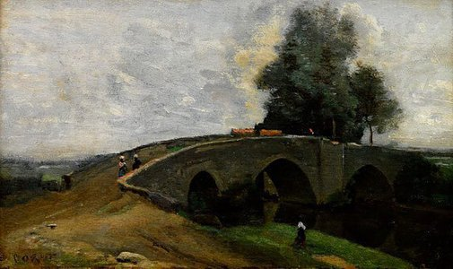 An image of Le vieux pont by attrib. Camille Jean Baptise Corot