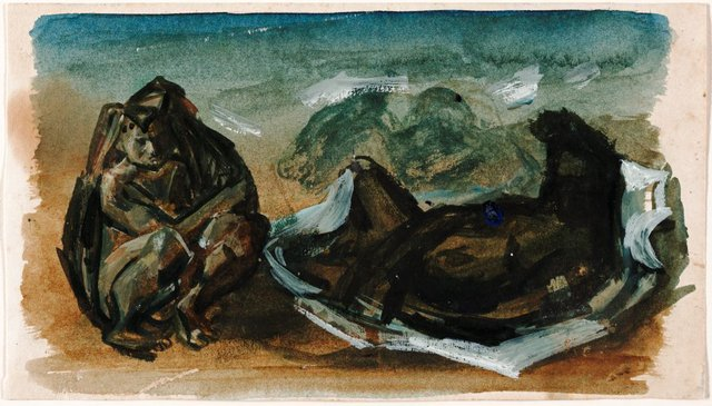 An image of (Two figures) (Gouaches)