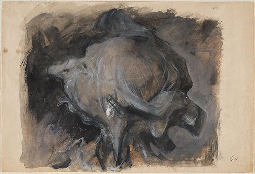 An image of (Head of an old woman with earring) (Gouaches) by William Dobell
