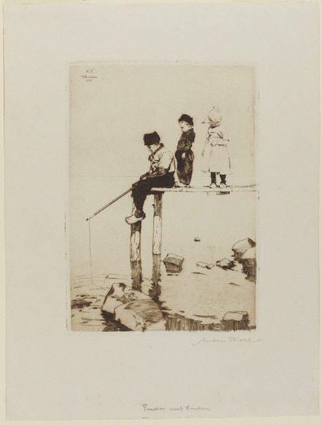 An image of Fisherman with children by Anton Forster