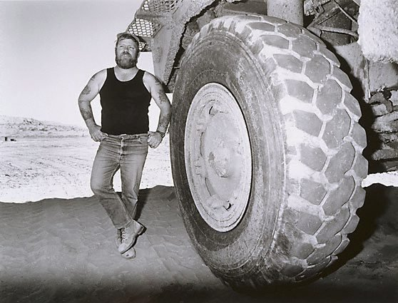 An image of 'Bosun' Terry Young, mine haul truck driver, Mt Gunson