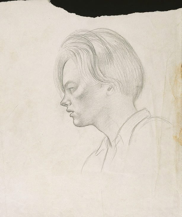 An image of (Young man's head in profile)