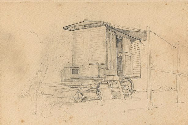 An image of recto: (The artist's caravan at Narrabeen) verso: (studies of a boat)