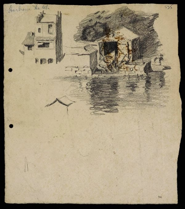 An image of recto: Harbour sketch verso: Houses and trees