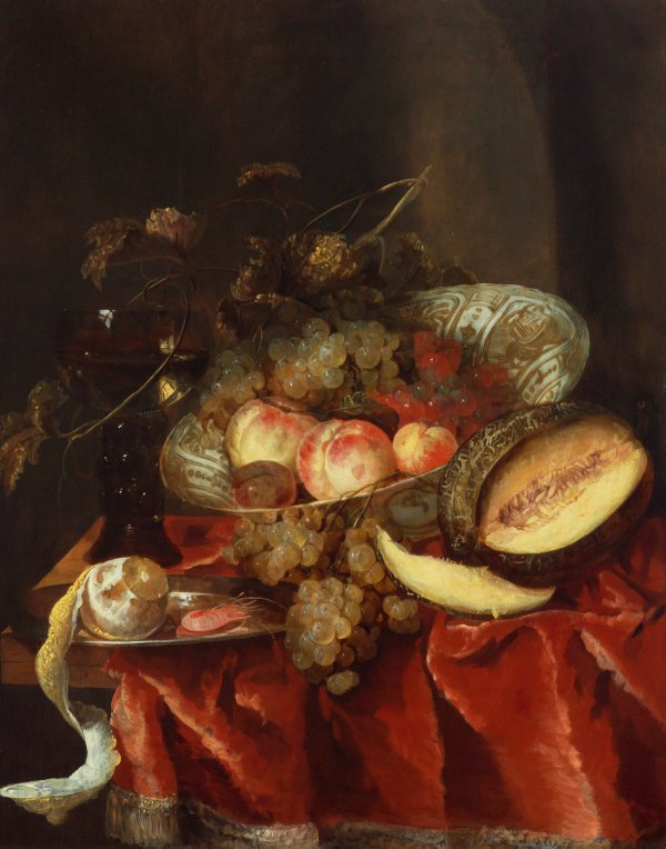 An image of Still life with fruit, a glass and a Chinese Wanli porcelain bowl