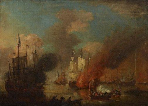 An image of Naval battle scene by attrib. Peter Monamy