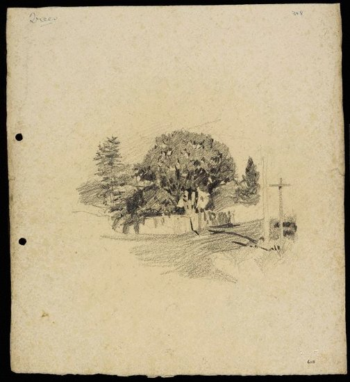 An image of Street with trees behind a fence by Lloyd Rees