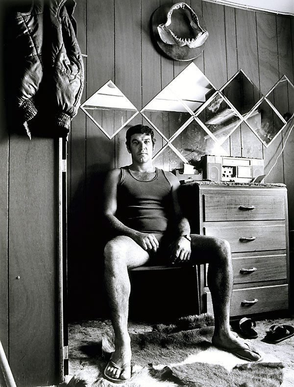 An image of 'Oscar' Steve Bowes in his room, single men's quarters, Mt Gunson