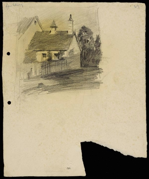 An image of House with turret and chimney