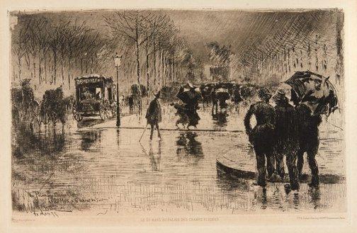 An image of Le retour des artistes by Félix Buhot