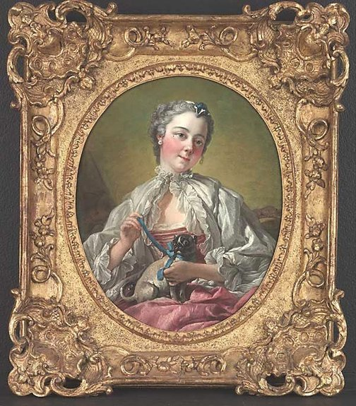 An image of A young lady holding a pug dog by François Boucher