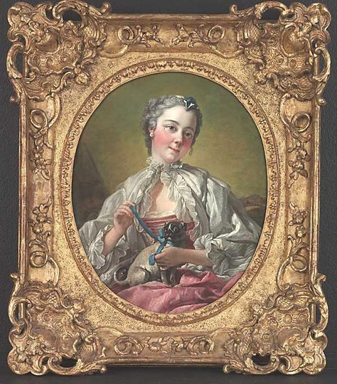 AGNSW collection François Boucher A young lady holding a pug dog mid 1740s