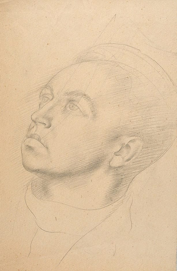 An image of (Portrait of a young man gazing upwards)