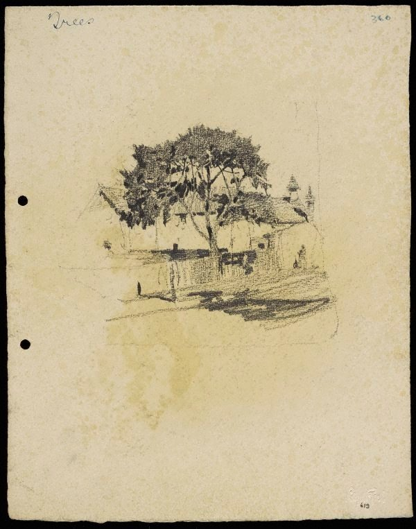 An image of recto: Tree with house with turret and chimney verso: Tree with house turret and chimney