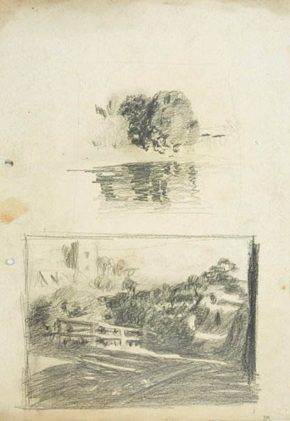 An image of Trees on riverbank and Landscape with fence and tower by Lloyd Rees