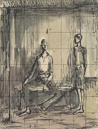 An image of Two figures on a verandah