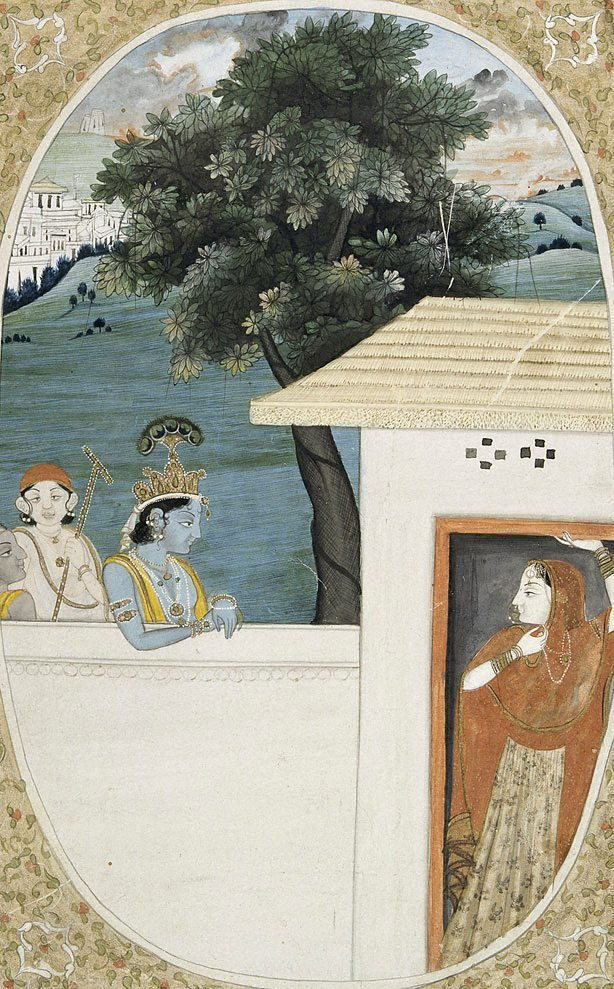 An image of Krishna and attendants visiting Radha