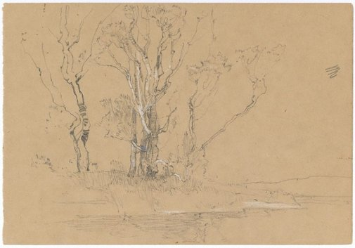 An image of (Trees by a stream) by Sydney Long