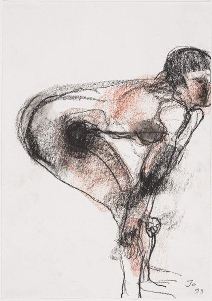 An image of Bending female nude, hands on knees by John Olsen