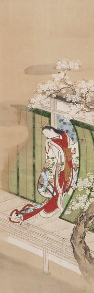 An image of Beauty with a cat (Parody of the Third Princess) by Nishikawa School