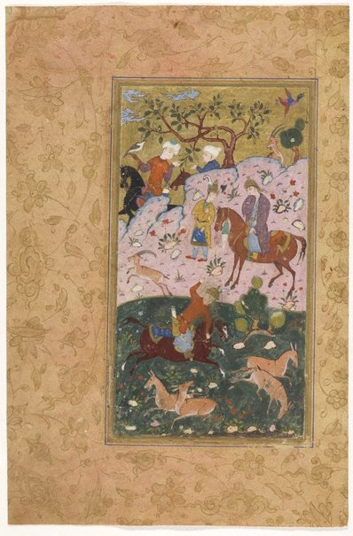 An image of recto: Bahram Gur taunted by his lover shoots two wild asses with one arrow. Folio from Haft Paikar (Seven beauties) verso: frontispiece, four columns of text written in nasta'liq script by