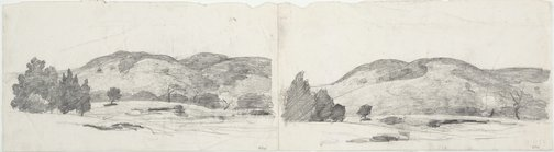 An image of recto: Two studies of South Coast hills verso: Two sheets of studies of a boy by Lloyd Rees