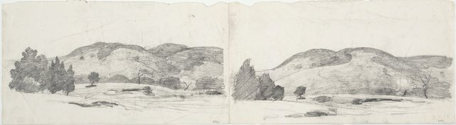 An image of recto: Two studies of South Coast hills verso: Two sheets of studies of a boy