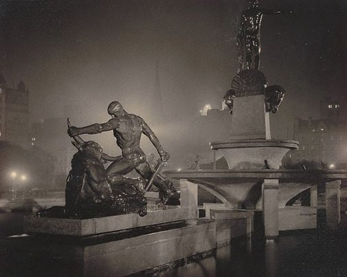 An image of Archibald Fountain at night, Sydney (Theseus) by Harold Cazneaux