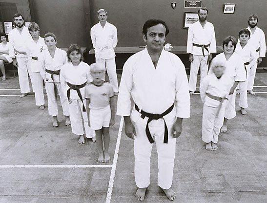 An image of Ali Kahn and his Tae Kwondo class, Mt Gunson town centre