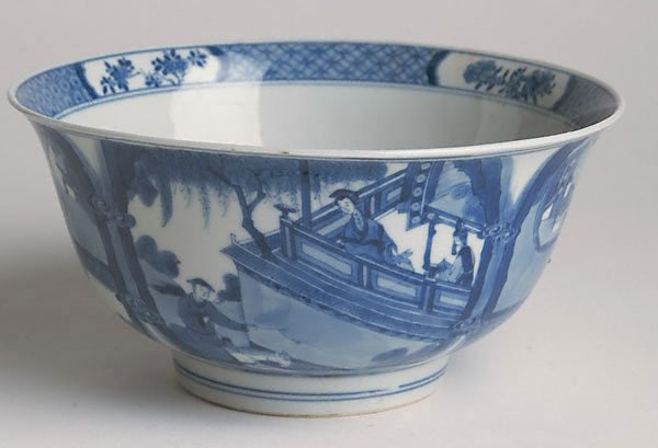 An image of Bowl decorated on exterior with scene from a story