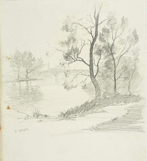 An image of Bend in the river with a bridge in the distance by Lloyd Rees