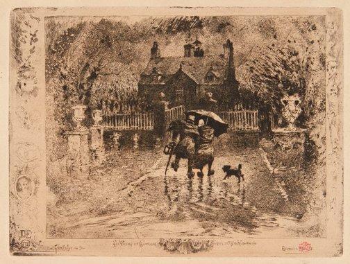 An image of Les voisins de campagne by Félix Buhot