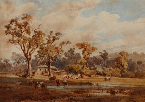 An image of On the banks of the Yarra, Victoria by Louis Buvelot