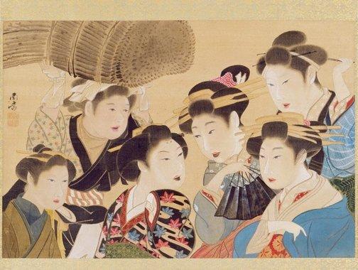 An image of (Portraits of six poetesses) by Watanabe Nangaku
