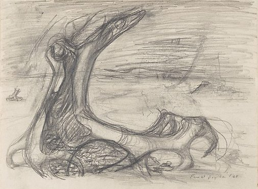 An image of recto: Study for 'Drought' series verso: (related doodles) by Russell Drysdale