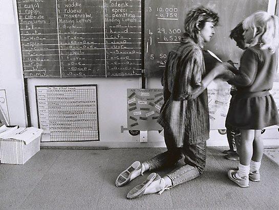 An image of Sally Robbins teaching at Mt Gunson school