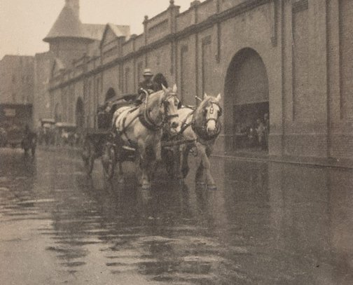 An image of Untitled (Horse and wagon on a wet day) by Henri Mallard