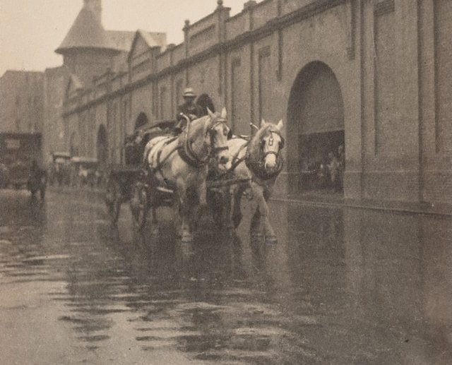 An image of Untitled (Horse and wagon on a wet day)
