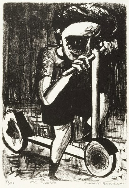 An image of Boy on scooter by Charles Blackman