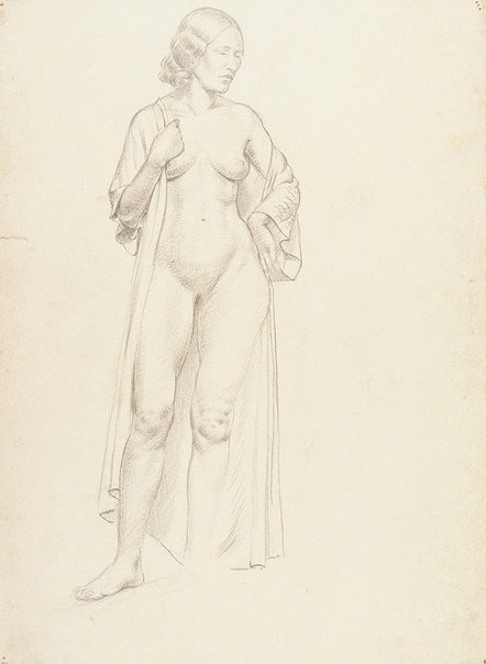 An image of recto: (Standing female nude with robe) verso: (Group of figures) by Douglas Watson