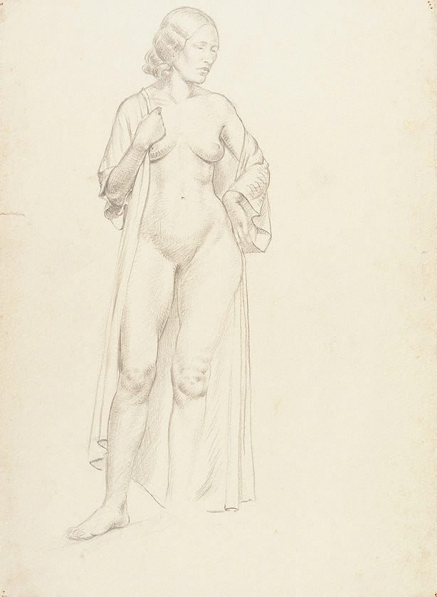 An image of recto: (Standing female nude with robe) verso: (Group of figures)