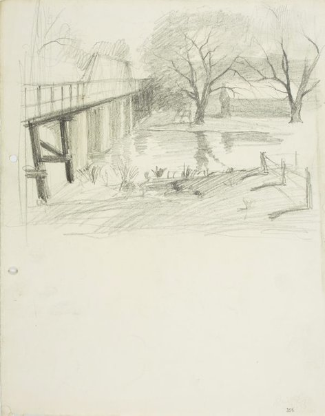 An image of Rings Bridge over the Parramatta River by Lloyd Rees