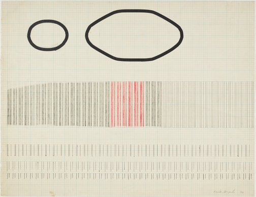 An image of Two Irregular Circles + Band of Red and Black Vertical Lines by Kazuko Miyamoto