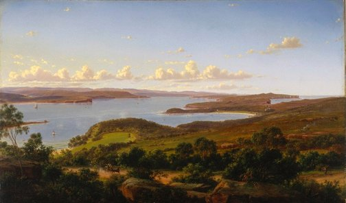 An image of Sydney Heads by Eugene von Guérard