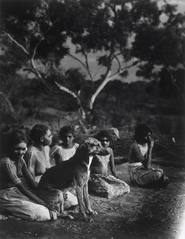 An image of Aboriginal group with dog