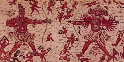 An image of Heirloom textile (ma'a) with a scene from the 'Ramayana' by