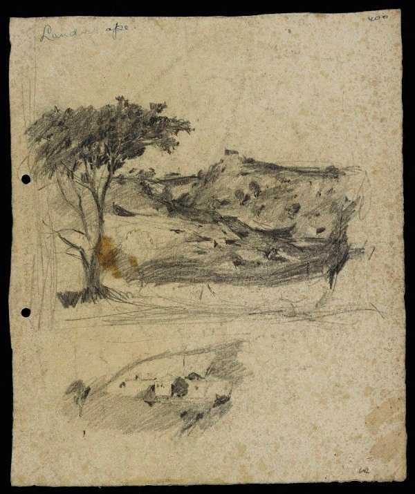 An image of recto: Hilly landscape [top] and Landscape with houses [bottom] verso: Two composition sketches for 'Hilly landscape'